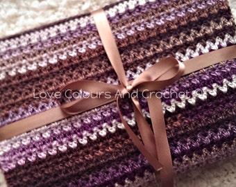 Middle Eastern Inspired Striped Afghan Baby Blanket Crochet