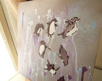 Purple penguins taking a plunge - Penguin stencil spray paint wall art