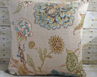 20x20 Decorative Pillow Beautiful Blue/Beige Floral Fabric