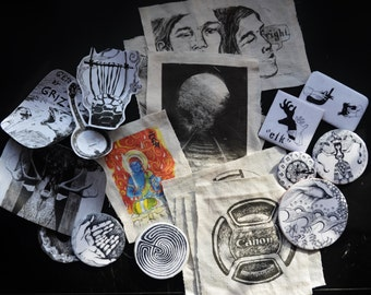 Patches, stickers, and buttons: a mystery grab bag!