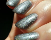 TWISTER is a Dark Silver Holographic Nail Polish/Lacquer