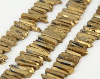Full Strand Tiny Rough Gold Quartz Crystal Stick Beads Points Bulk,Top Drilled Raw Crystals Loose Beads Pendants Supplies Necklaces