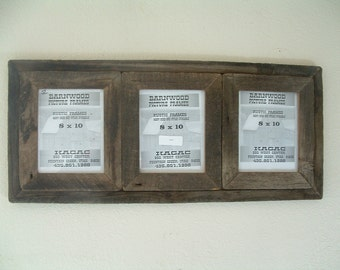 Rustic Barn Wood Picture Frame(3) Place Collage, 8 X 10 , Very Old, Very Rustic