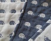 Hedgehogs blanket, navy soft blanket, baby blanket, gauze blanket, muslin blanket, stroller blanket for baby boy