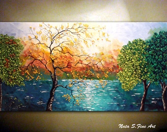 Landscape Painting, ORIGINAL Painting, Contemporary Art,  Palette Knife Art, Impasto, Lake, Tree Autumn Painting  by Nata   - MADE to ORDER