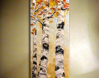Original Birch Tree Painting Palette Knife Impasto Heavy Textured Birch Tree Painting.Autumn,Orange Fall Tree  by Nata S.......MADE to ORDER