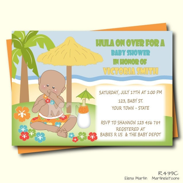printable luau baby shower invitation tropical by martinelatoons, Baby shower