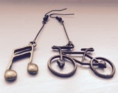Bicycle and Music Note Asymmetrical Earrings