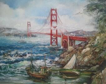 San Francisco The Golden Gate Bridge ,original oil painting print,Lutece Edition Paris,California,bridge view,home decor print,wall art