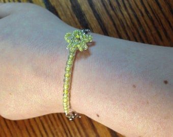 Yellow Shooting Star Bracelet glass beads and silver plated chain