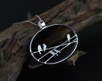 Bird On Line Pendant Black Agate Charm Sterling Silver Pendant Women Pendant