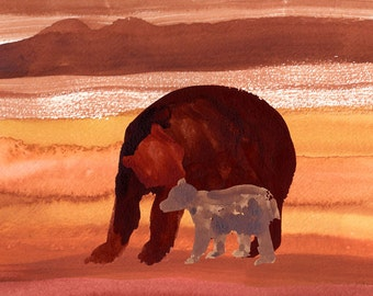 Art Print mother bear and cub Watercolor 11x14""