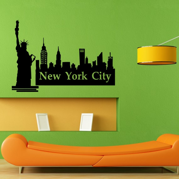 new york ny city view skyline wall sticker vinyl mural decal. Black Bedroom Furniture Sets. Home Design Ideas