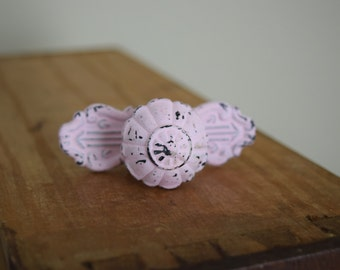 Pink Distressed Metal Drawer Knobs, Pink Drawer Pulls, Cabinet Knobs, Shabby Chic Drawer Knobs