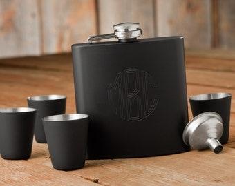 Matte Black Flask & Shot Glasses Set (g186-1175) - Free Personalization