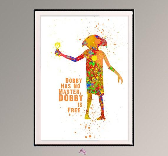 Hnliche Artikel Wie Dobby Von Harry Potter Dobby Hat Keinen Meister Dobby Ist Frei Aquarell
