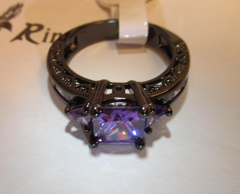 amethyst ring black rhodium 10k white gold filled by