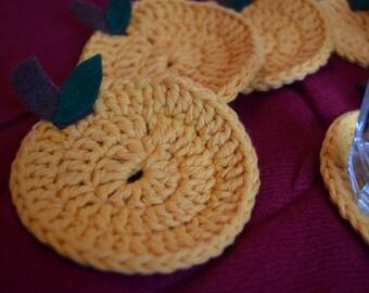Lemon Crochet Coaster, Set of 6, 100% Cotton