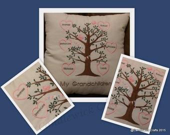 Hearts Family Tree Keepsake cushion