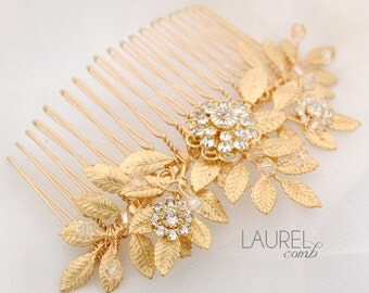 Leafy wedding hair comb - gold leaf bridal comb - Swarovski crystal comb - Grecian hair comb - leaf headpiece - Laurel comb