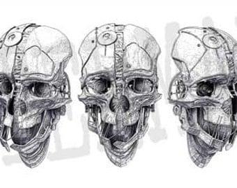 "Dishonored Corvo Attano's mask turnaround sheet, clean print, 1:1 scale, 18"" x 40"""