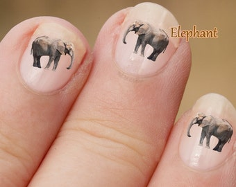 Elephant wild animal Nail Art Stickers, Elephant decals, photographic nail art,