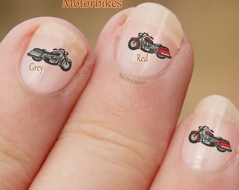 Motor Bike Nail Art,  Motor Cycle Nail Art Stickers,  fingernail stickers,  finger nail art,  motorbike, motorcycle, Grey or Red Decals