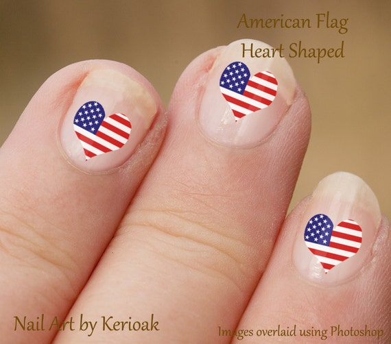 American Heart Shaped Flag Nail Art US Nail Art Stickers