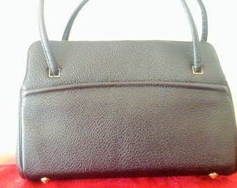 Beautiful Vintage Rambler by Kedin Black Pebbled Leather Like Material Purse Bag Perfect for Business or Formal Wear