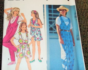 Vintage 1993 Simplicity 8504 Sewing Pattern Girl's Jumpsuit in Two Lengths Size AA 7 - 10