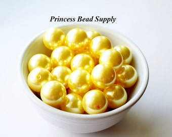 20mm Yellow Pearl Chunky Beads Set of 10,  Bubble Gum Beads, Gumball Beads, Acrylic Beads