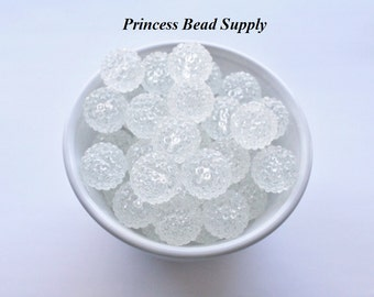 20mm Clear Transparent Rhinestone Chunky Beads Set of 10,  Bubble Gum Beads, Gumball Beads, Acrylic Beads