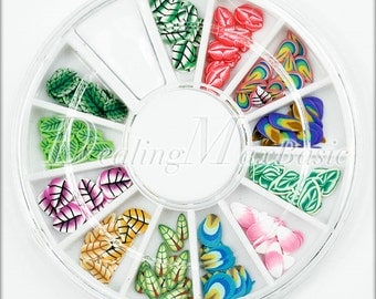 120 Mixed 12 Style Leaf Polymer Clay Fimo Slice 3D Nail Art Decoration NA0007