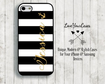 iPhone 6 Case, iPhone 6 Plus Case, iPhone 5 Case, iPhone 5c Case, Monogram Phone Case, Black and White Stripes, Gold Anchor Case, Anchor,601