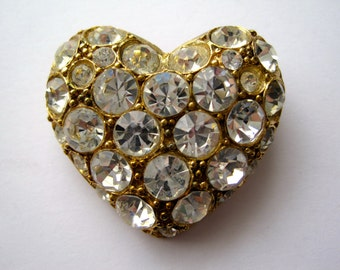 Vintage Gold Tone Clear Rhinestone Heart Brooch Pin from the 1950's