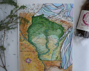 Fantasy Map of Wisconsin (watercolor print)