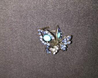 Elegant butterfly crystal hair clip