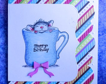 Birthday Mouse Card, Kids Girls Birthday Card, Handmade Hand stamped Card, Animal Card, Hand Colored Card, Cute Mouse Card, Blank Card
