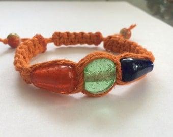 Orange Throwie Adjustable Hemp Bracelet