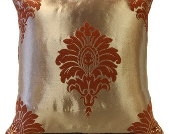 Shiny Beige Pillow, Throw Pillow Cover, Decorative Pillow Cover, Cushion Cover, Pillowcase, Toss Pillow, Satin Blend, Cinnamon Floral Pillow