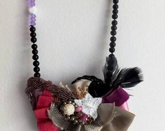 Constance - unique textile necklace OOAK