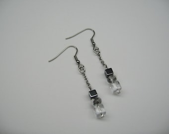 Earrings hematite, silver beads and glass cube
