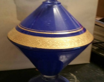 Vintage Blue Gold Candy Dish 1900's