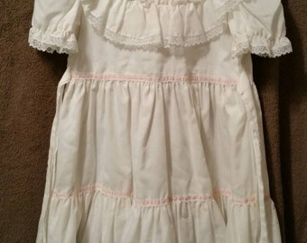 Child's White Lace Trim Dress