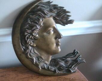 Crescent Moon Womans Face Antique Bronze Patina Hollywood Regency Art Deco Wall Hanging Deep Creek Shabby Decor