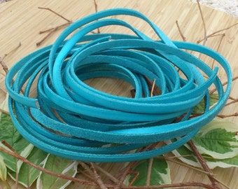 Leather flat turquoise 5mm by 20cm