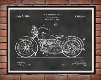 Patent 1928 Harley Motorcycle - Poster - Wall Art - Drawing Illustration - Harley Davidson - Bike - Motor Bike - Hells Angels
