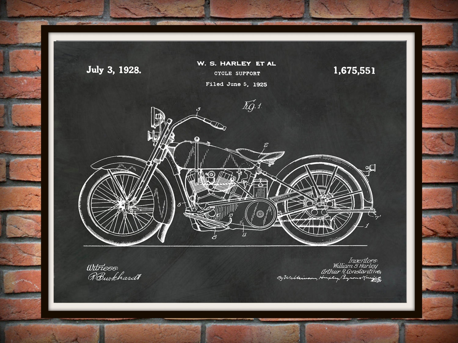 Patent 1928 Harley Motorcycle   Poster   Wall Art   Drawing Illustration    Harley Davidson   Bike   Motor Bike   Hells Angels