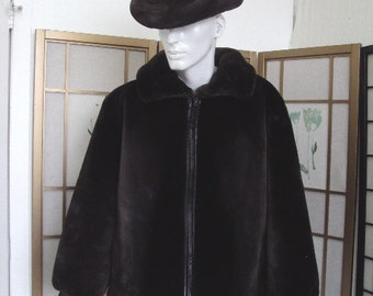Brand new phantom sheared beaver fur & leather reversible bomber jacket coat for men man size all custom made