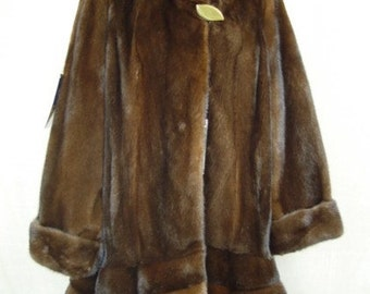 Refurbished new Canadian brown mink fur jacket coat for women woman horizontal bottom design size all custom made